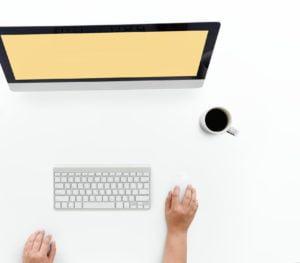 Person looking at a desktop screen